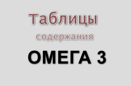 Таблицы Омега 3 в продуктах